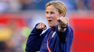 WINNIPEG, MB - JUNE 12:  Head coach Jill Ellis of the United States watches her team warm up before taking on Sweden in the FIFA Women's World Cup Canada 2015 match at Winnipeg Stadium on June 12, 2015 in Winnipeg, Canada.  (Photo by Kevin C. Cox/Getty Images)