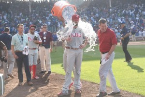 CHICAGO, IL - JULY 25:  Cole Hamels #35 of the Philadelphia Phillies gets a ice water bath after his no hitter on July 25, 2015 at Wrigley Field in Chicago, Illinois. Hamels pitched a no hitter and the Philliess won 5-0. (Photo by David Banks/Getty Images)