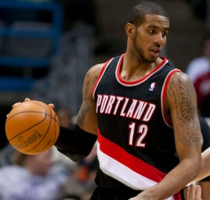 Apr 7, 2012; Milwaukee, WI, USA;  Portland Trail Blazers forward LaMarcus Aldridge (12) during the game against the Milwaukee Bucks at the Bradley Center.  The Bucks defeated the Trail Blazers 116-94.  Mandatory Credit: Jeff Hanisch-US PRESSWIRE